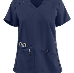 Solid Scrub Tops For Women | 3-Pocket Rib Knit Side Panel Mock Wrap Scrub Tops Stretch | Medical scrub tops wholesale Supplier