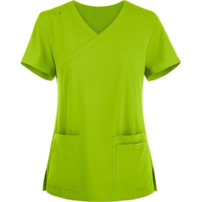 Ladies Scrub Tops Fashion   4-Pocket Mock Wrap 4 Way Stretch Scrub Tops   Wholesale Scrub Tops With Logo Manufacturer