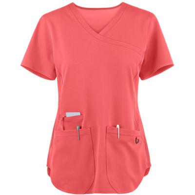 Scrub Tops For Women   3-Pocket Rib Side Mock Wrap Scrub Tops Stretch   Wholesale Scrub Tops With Logo Discount
