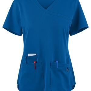 Scrub Tops For Women | 3-Pocket Rib Side Mock Wrap Scrub Tops Stretch | Wholesale Scrub Tops With Logo Discount