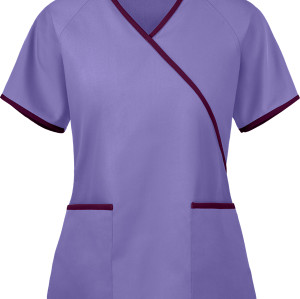 Ladies Scrub Tops Stylish | 2-Pocket Mock Wrap Back Tie 4 Way Stretch Scrub Tops Cotton | Wholesale Scrub Tops Manufacturer