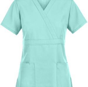 Women's Scrub Tops Custom   2-Pocket Empire Mock Wrap Cotton Scrub Tops Stretch   Wholesale Medical Scrub Tops Cheap