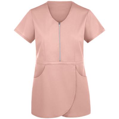 Women's Scrub Tops Stylish   2-Pocket Zip Peplum 4 Way Stretch Scrub Tops   Wholesale Scrub Tops With Logo Discount