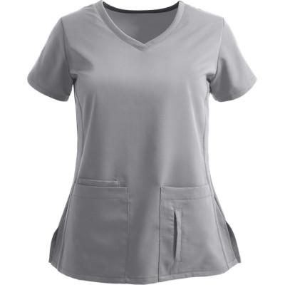 Women's Scrub Tops Modern Fit   4-Pocket Stylish V-Neck Scrub Tops Cotton   Wholesale Scrub Tops With Logo Supplier