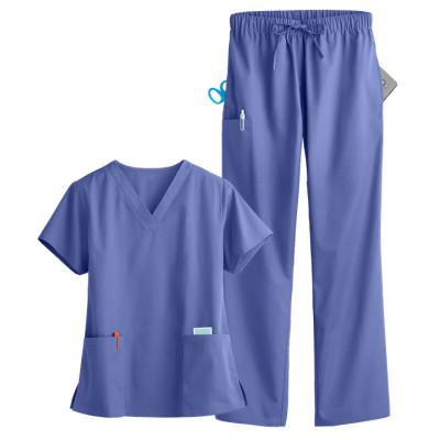 Medical Scrub Sets For Women | Solid Color 5-Pocket Scrub Sets V-neck Tops&Drawstring Pants | Wholesale Scrub Sets With Logo
