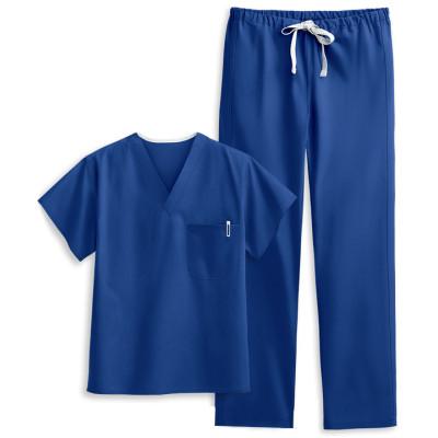 Unisex Scrub Sets | 4-Pocket Solid Color Scrub Sets Cotton V-neck Scrub Tops&Drawstring Pnats | Wholesale Scrub Sets Supplier