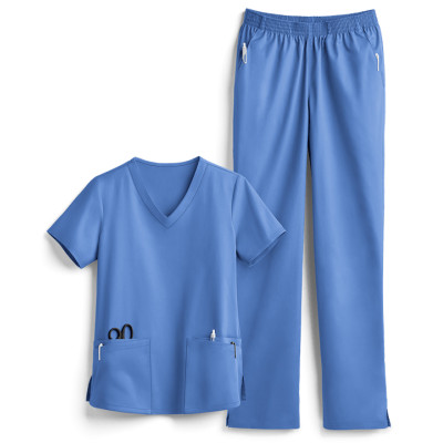 Classic Scrub Sets For Women | 6-pocket Scrub Sets V-neck Scrub Tops&Elastic Waist Pants | Wholesale Scrub Sets Manufacturer