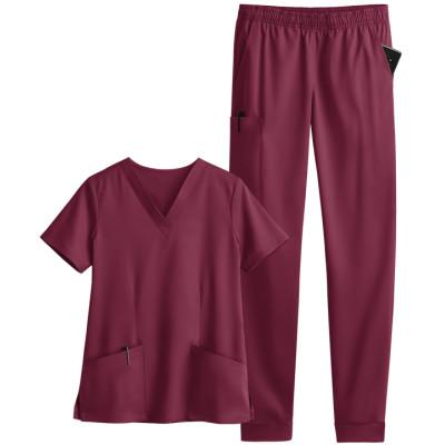 Scrub Uniforms For Women | 5-Pocket Jogger Scrub Sets V-neck Scrub Tops&Elastic Waist Pants | Wholesale Quality Scrub Sets