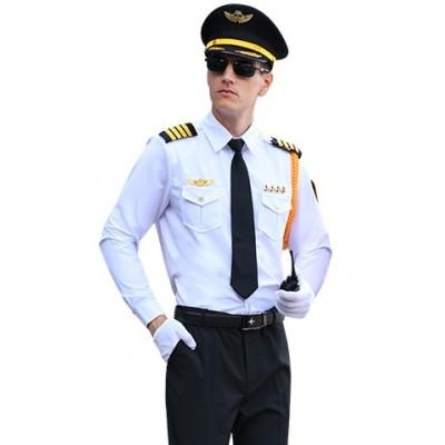 Men's Airline Pilot Costume | Airline Uniforms Pilot Shirt With Pants Set | Short Sleeve Pilot Shirt Solid Spread Collar
