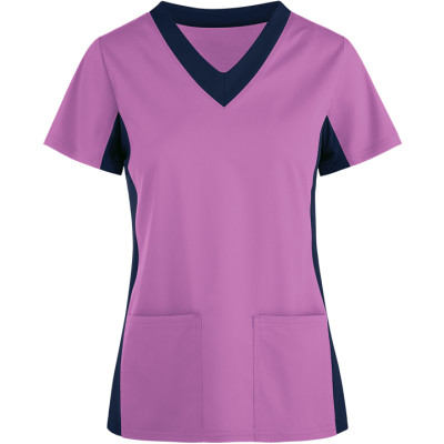 Scrub Tops For Women Stylish | 2-Pocket Contrast Scrub Tops Cotton | Wholesale Scrub Tops With Logo Manufacturer