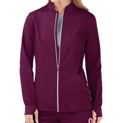 Scrub Jackets For Women   2-Pocket Zip Front Scrub Jackets Modern Fit Custom   Wholesale Scrub Jackets Manufacturer