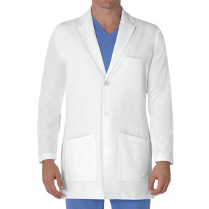 Lab Coats For Men   3-Pocket White Long Sleeve Button Scrub Lab Coats   Custom Lab Coats With Logo Wholesale Manufacturer