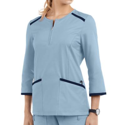 Scrub Tops For Women | 4-Pocket 3/4 Sleeve Zip Half Placket Scrub Tops Cotton | Wholesale Scrub Tops Affordable Supplier