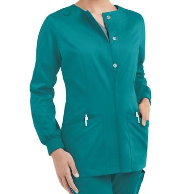 Scrub Jackets For Women | 2-Pocket Long Sleeve Snap Front Scrub Jackets | Custom Scrub Jackets With Logo Wholesale