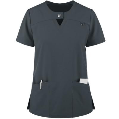 Scrub Tops For Women Stylish | 2-Pocket Jewel Neck Short Sleeve Scrub Tops | Wholesale Medical Scrub Tops Manufacturer