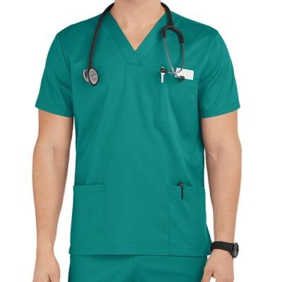 Scrub Tops For Men | 6-Pocket V-Neck Short Sleeve 4 Way Stretch Scrub Tops | Custom Scrub Tops With Logo Wholesale