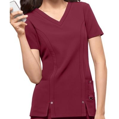 Scrub Tops For Women   3-Pocket V-Neck 4 Way Stretch Scrub Tops   Wholesale Medical Scrub Tops With Logo