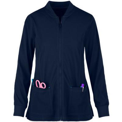 Women's Scrub Jackets Warm | 2-Pocket Knit Trim Zip Front Scrub Jackets | Custom Scrub Jackets With Logo Wholesale Supplier