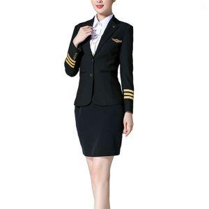 Women's Airline Uniforms For Flight Attendants | Long Sleeve Pilot Suit Uniforms | Custom Airlines Flight Attendant Uniforms