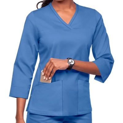 Scrub Tops For Women | 3-Pocket 3/4th Sleeve Side Zip Scrub Tops | Wholesale Medical Scrub Tops Manufacturer