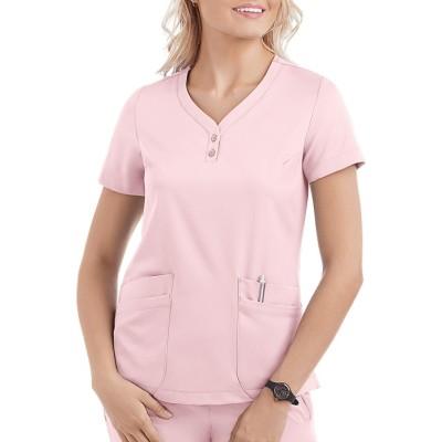 Scrub Tops For Women | 5-Pocket Short Sleeve Henley Scrub Tops 4 Way Stretch | Wholesale Scrub tops With Logo Supplier