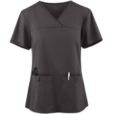 Scrub Tops For Women   2-Pocket Knit Side Panel V-Neck Scrub Tops   Quality Medical Scrub Tops Wholesale