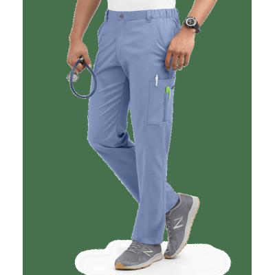 Men's Scrub Pants Cargo   Stretch Solid Cotton 7-Pocket Zip Scrub Pants Elastic Waist   Wholesale Quality Scrub Pants