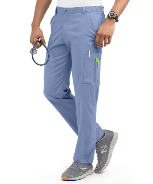 Men's Scrub Pants Cargo | Stretch Solid Cotton 7-Pocket Zip Scrub Pants Elastic Waist | Wholesale Quality Scrub Pants