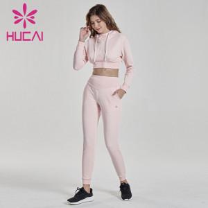 Wholesale running sportswear Pink Long Sleeve hooded fitness suit