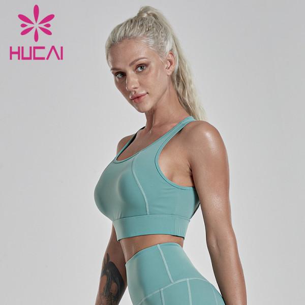 peacock blue back cross backless fitness exercise high intensity bra Wholesale fitness bra