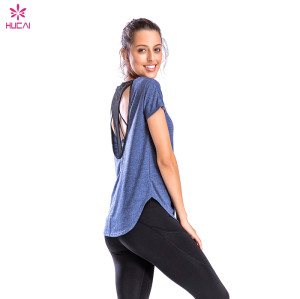 Mesh sports T-shirt women's loose quick-drying running blouse Wholesale loose sports T-shirt