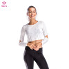 Women's grey round neck long sleeve quick-drying and breathable Wholesale fitness T-shirt
