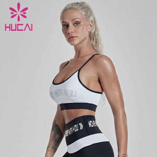 Color contrast letter printing gathered slim band sexy bra sports bra wholesale suppliers