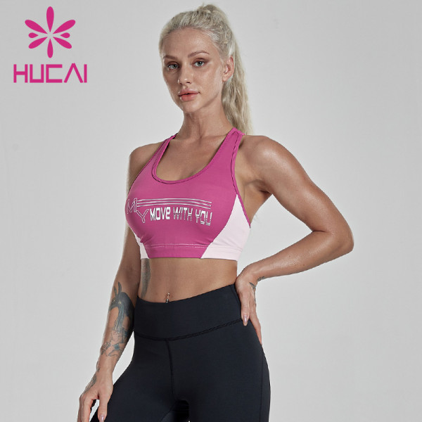 Two-tone stitching racer back sports bra production