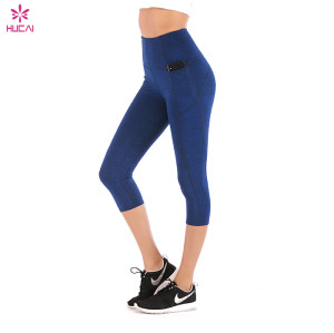 Wholesale summer thin nude yoga pants pocket 7 / 8 pants elastic high waist  blank yoga pants wholesale