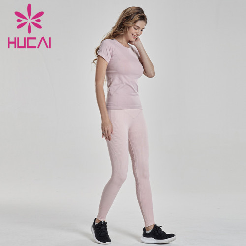 Yoga suit short sleeve professional outdoor running gym training suit fitness clothes manufacturers