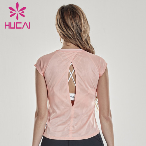 Custom sports t shirts women's top short sleeve loose and thin mesh splicing fitness suit