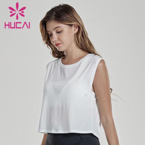 wholesale blank fitness apparel breathable mesh sleeveless short fitness shirt