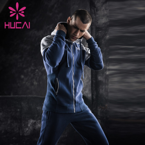 mens athletic wear wholesale hooded sports long sleeve coat fast dry running fitness clothes loose and breathable