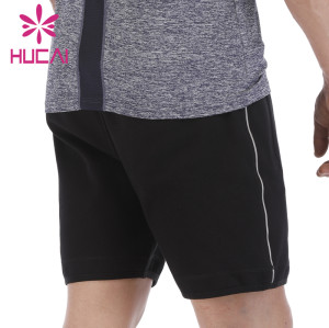 custom mens athletic shorts wholesale with pocket polyester five-point Pants Black Summer