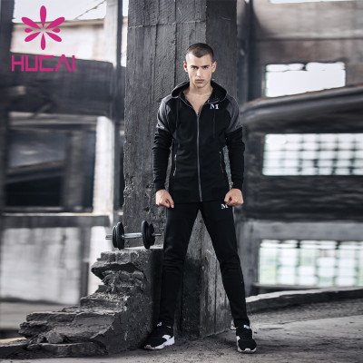 wholesale mens sweat suits black hooded long sleeve leisure training quick drying hooded cardigan coat fitness