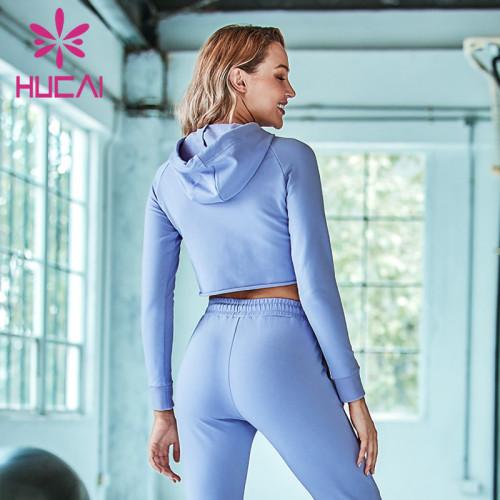 Autumn short loose sport hoodies wholesale women's running long sleeve