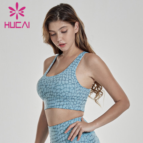 Sports underwear women's shockproof gathered shaped vest exercise Yoga suit grid printing sub breast running fitness bra