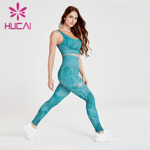 European and American new plant printing elastic quick drying fitness suit women's running sports leisure Yoga suit