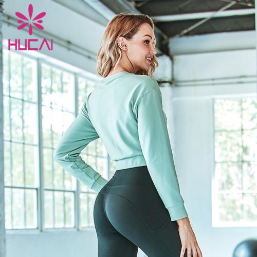 Women's loose Fitness Yoga long sleeve splicing top yoga product distributors