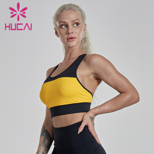Sports underwear women's shock absorption running classic yellow and black stitching bullet hit fitness vest women