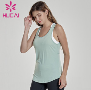 Sports vest women wear two pieces of fake running fitness clothes, sleeveless quick drying loose Yoga Top custom clothing manufacturers
