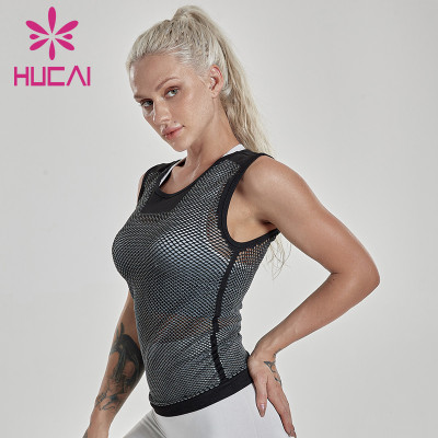 Yoga tank tops women's tight fast dry running gym top breathable mesh sleeveless sports blouse