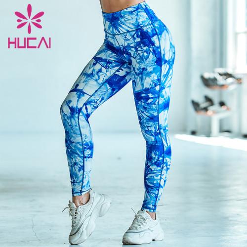 custom tie dye printed yoga pants  design logo