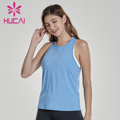Summer new sports tank top women's sleeveless perforated versatile quick dry Breathable blouse thin custom womens sportswear